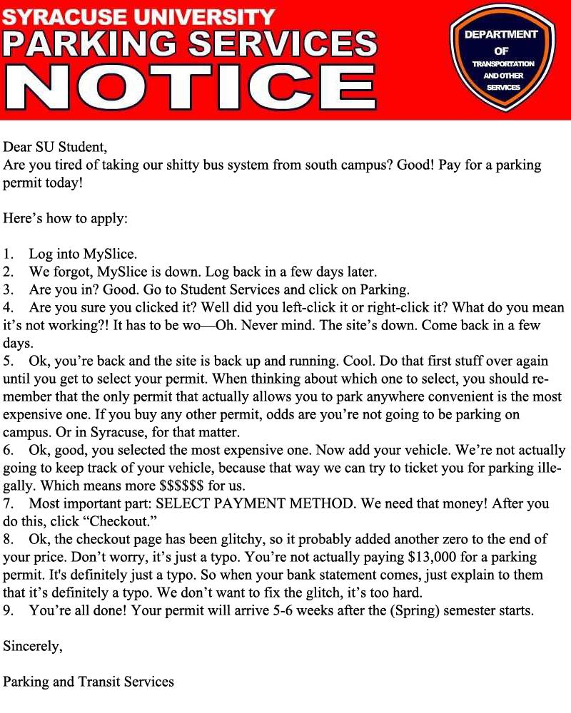 Purchase Your Parking Permit Today!   Campus Basement
