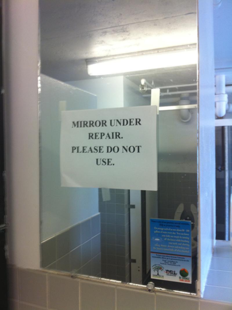 Shaw 3rd Floor Bathroom Mirror No Longer Reflective