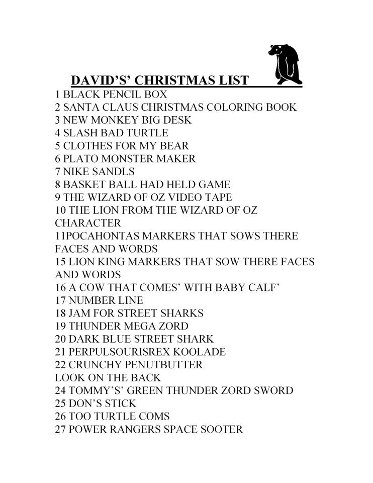 I Found My Christmas List from 1995 | Campus Basement